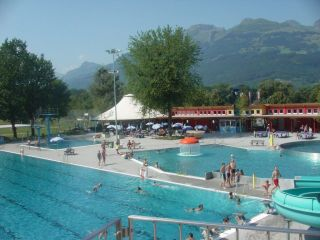 The open air swimming pool between Vaduz and Schaan