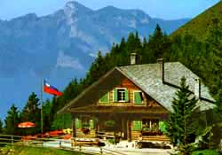 Gafadura mountain hut and restaurant above Planken, Liechtenstein